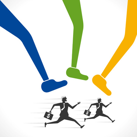 big foot: big foot try to hit the running businessmen  vector