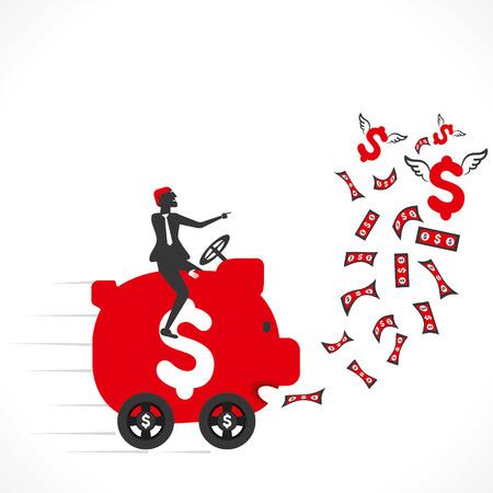 piggy bank car eat money and store vector Иллюстрация