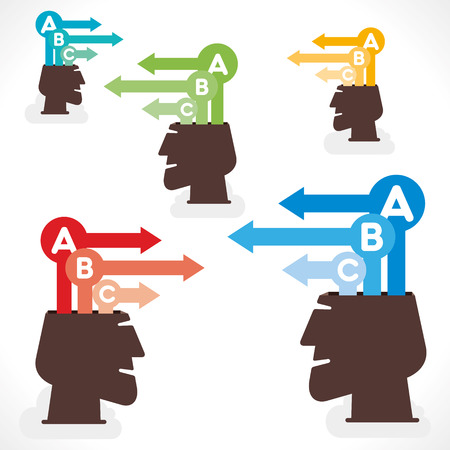 unsolvable: creative info-graphics or arrow out from head concept vector