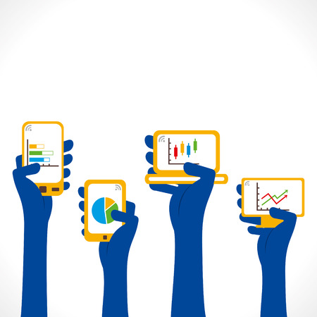 every different device in hand show business growth graph concept vector Vector