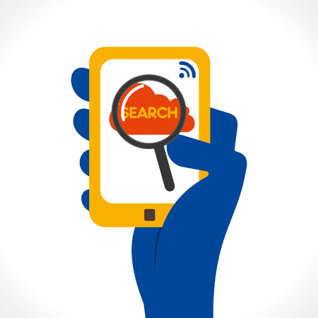 agenda browse: search anything one touch using mobile via internet concept vector