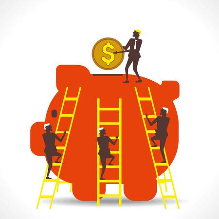 more money: big piggy bank save more money concept vector