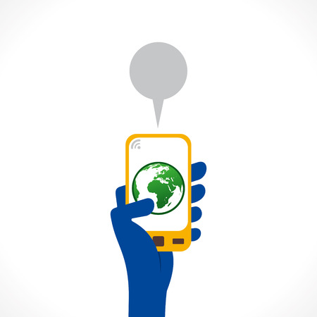save the earth: go green or save earth apps icon display in mobile concept vector Illustration