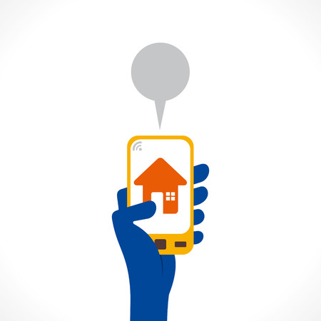 home or real estate icon or apps in mobile concept vector Vector