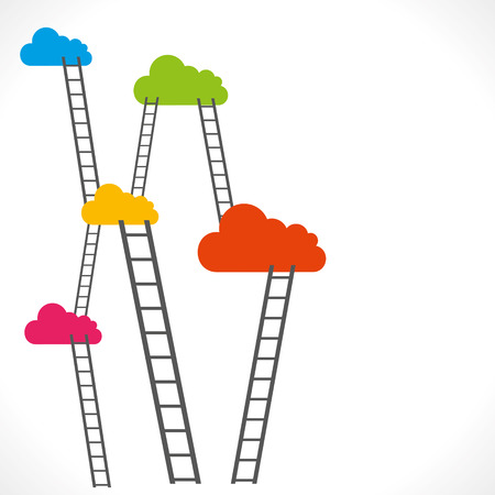 colorful clouds and ladder vector