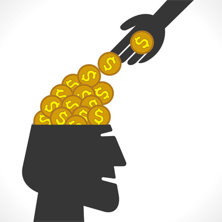 saving money or drop coin in head concept vector Vector