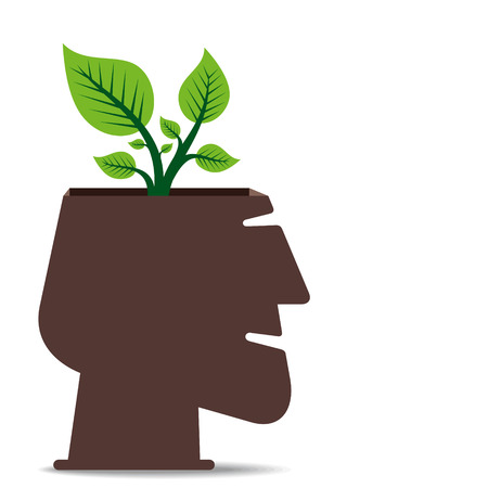 go green concept, small plant in human head concept vector Vector