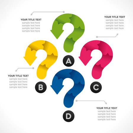 timelines: colorful creative question mark info-graphics design vector