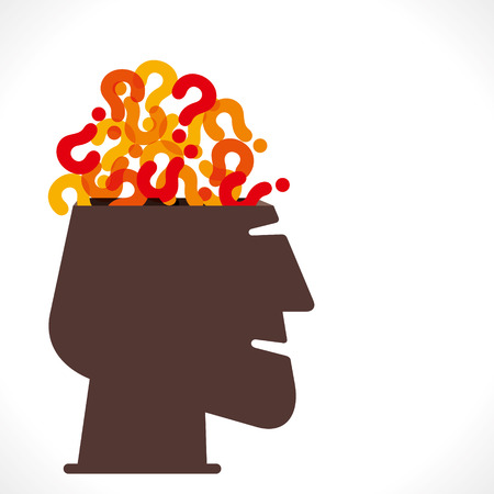unanswered: men head with full of question mark concept vector Illustration