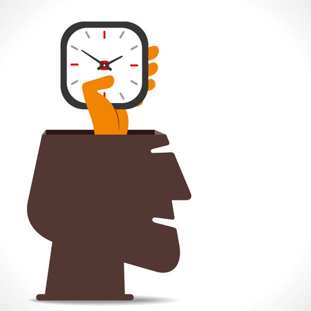 work on time, clock hold in hand concept vector Vector