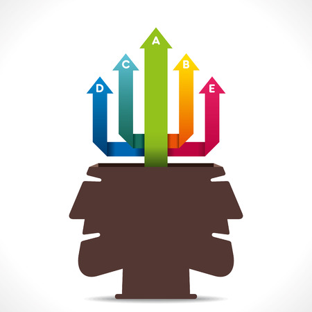 colorful arrow move up from men head concept vector Vector