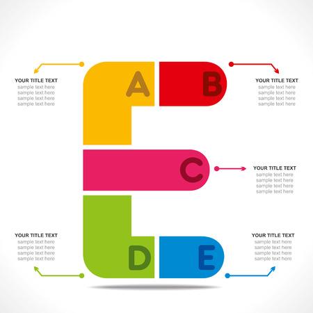 letter e: creative  E  alphabet info-graphics design concept vector