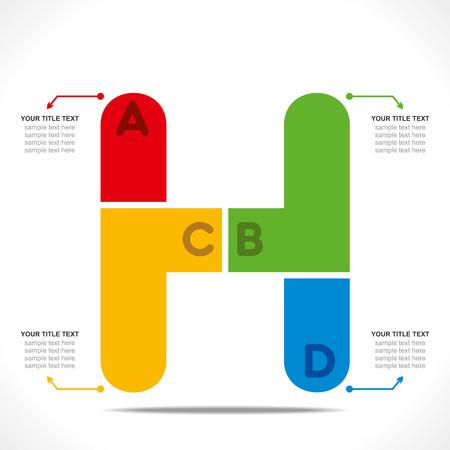 h: creative  H  alphabet info-graphics design concept vector