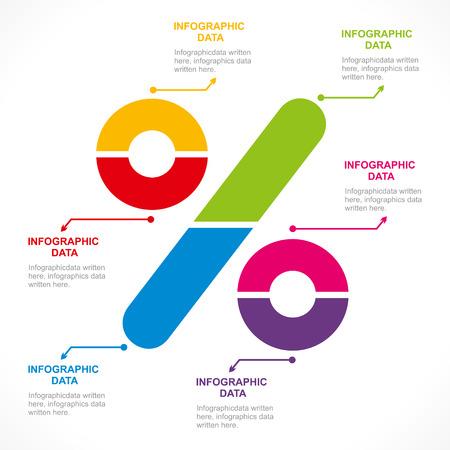 percentage sign: creative percentage sign info-graphics design concept vector