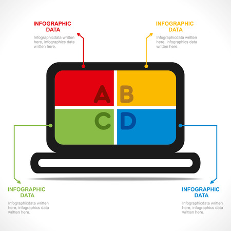 creative laptop info-graphics design vector Vector