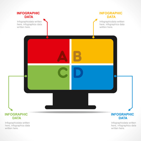 creative computer info-graphics design concept vector Vector
