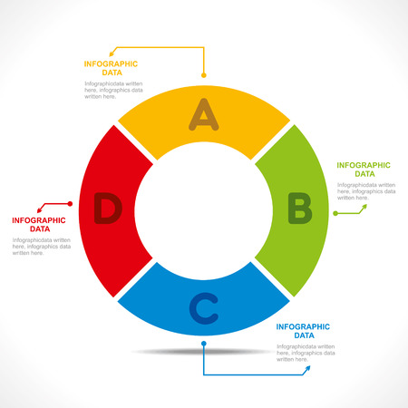 number four: creative alphabet  O  info-graphics design concept vector Illustration