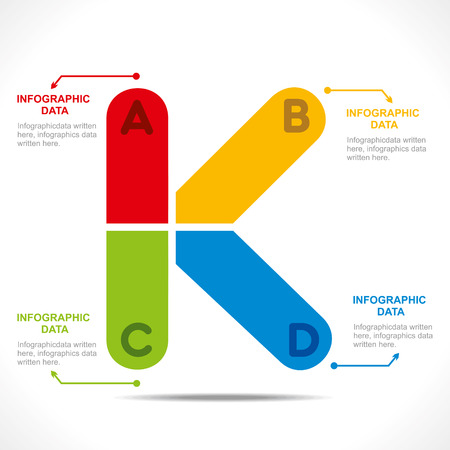 letter k: creative  K  alphabet info-graphics design concept vector