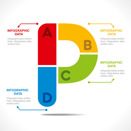 creative alphabet  P  info-graphics design concept vector Illustration