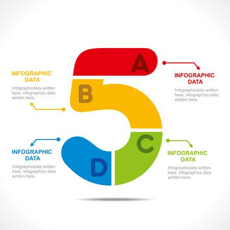 creative number  5  info-graphics design concept vector