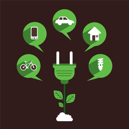 creative object to use green energy concept design  Vector
