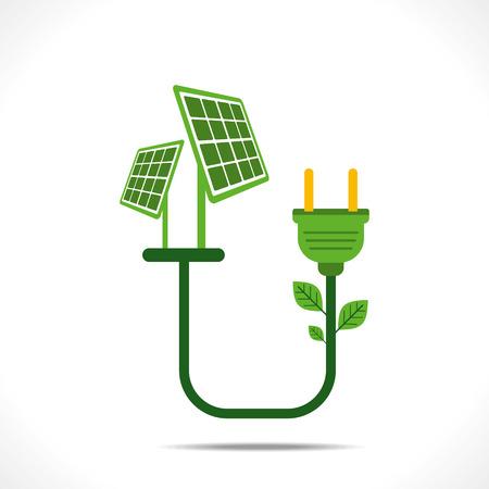 green energy by solar energy concept  Vector