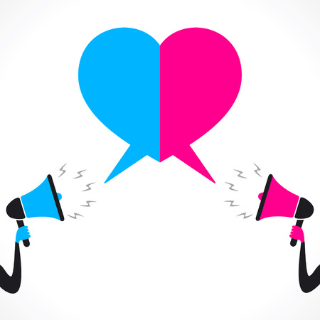 loudly discuss on relationship make heart shape message bubble concept Vector