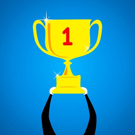big golden wining trophy concept Vector