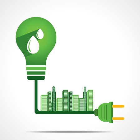generate green energy from hydro power and give power to city concept