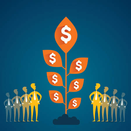 team with growing money plant concept  Vector