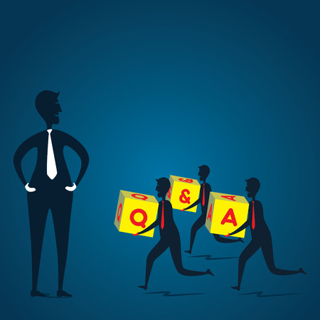 men run with Q   A box and go for teacher or leader concept  Vector