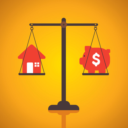 weighing or compare or exchange home to money concept vector Vector