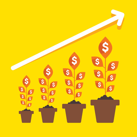 growing money: growing money plant arrange in business pillar or growth graph concept vector