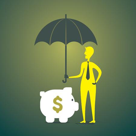 saving or secure money men under umbrella concept vector