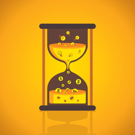 sand clock idea convert into money creative conversion concept vector Vector