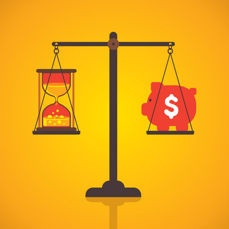 payday: weighing or compare or exchange time to money concept vector Illustration