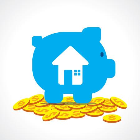 for a dream: saving money in piggy bank for dream home concept vector