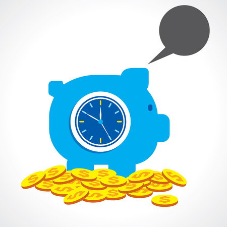 saving money for long time with message bubble concept vector Çizim
