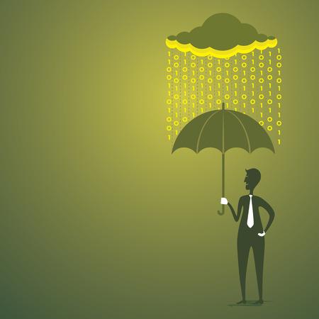 men under umbrella save by digital rain concept vector