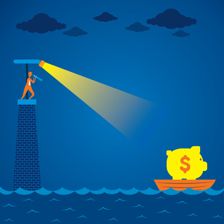 risky situation: men search boat with full of money concept vector Illustration
