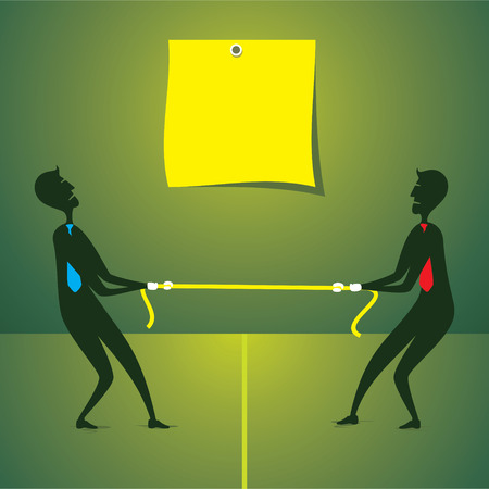 tug of war: tug war between two men and write your text concept vector