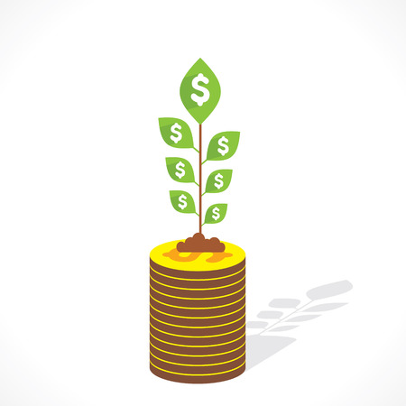 grow money: money grow concept vector