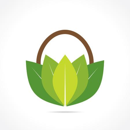 retailers: creative green or organic basket icon design concept  Illustration