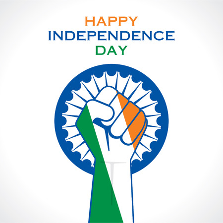 illustration of hand fist in Indian tricolor concept  Vector