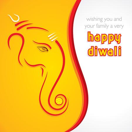 ganesh: creativo feliz tarjeta de felicitaci�n de Diwali fondo vector