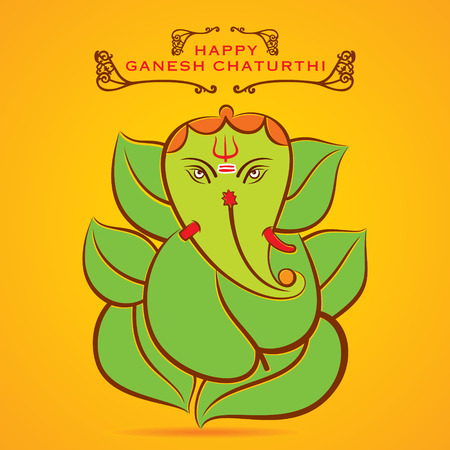 happy Ganesha chaturthi festival greeting background vector Illustration