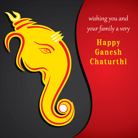creative ganesh chaturthi festival greeting card background vector Vector