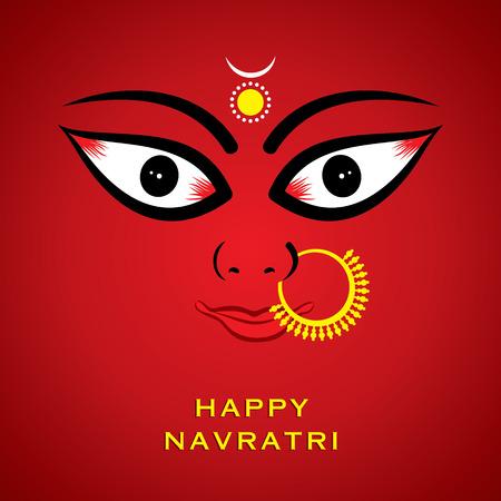 devi: indian godess durga devi face background vector Illustration