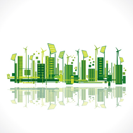 environmental: save earth or green city reflection design concept vector