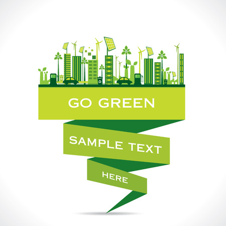 green city building or go green or save earth concept vector Vector